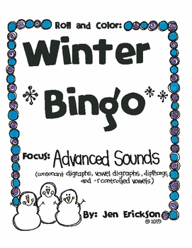 Roll and Color WINTER BINGO:  Advanced Sounds
