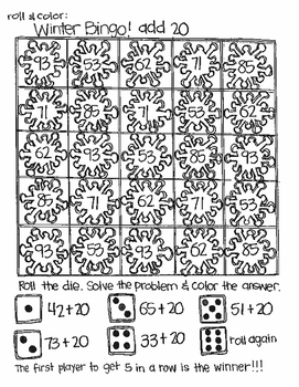 Roll and Color WINTER BINGO:  Double Digit Addition (with NO regrouping)