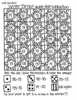 Roll and Color WINTER BINGO:  Double Digit Subtraction (with NO regrouping)