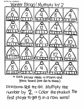 Roll and Color WINTER BINGO:  Multiplication