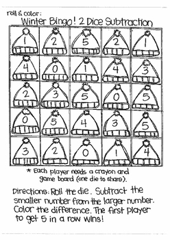 Roll and Color WINTER BINGO:  Subtraction