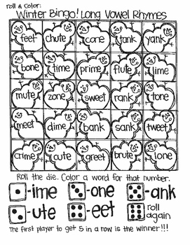 Roll and Color WINTER BINGO:  Word Families