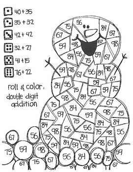Roll and Color WINTER STYLE:  Double Digit Addition (with NO regrouping)