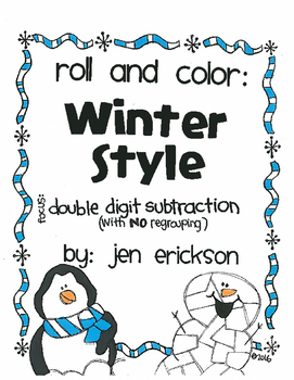 Roll and Color WINTER STYLE:  Double Digit Subtraction (with NO regrouping)