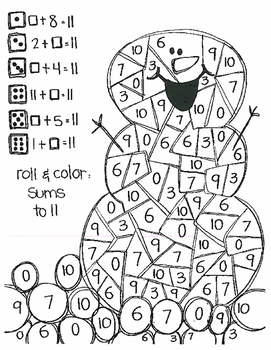 Roll and Color WINTER STYLE:  Missing Addends for Addition