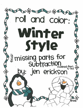 Roll and Color WINTER STYLE:  Missing Parts for Subtraction