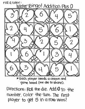 Roll and Color Winter Bingo:  Addition