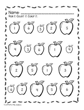 Roll and Color Worksheets - Math and Language Arts