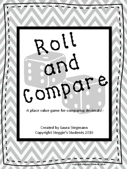 Roll and Compare Decimals Game