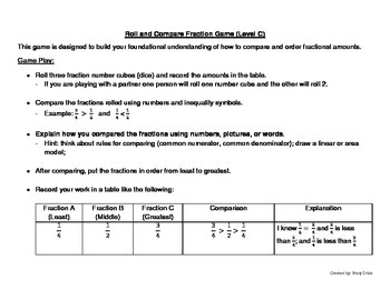 Roll and Compare Fraction Game (Level C)