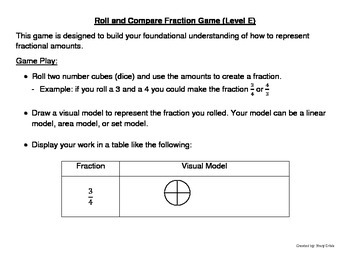 Roll and Compare Fraction Game (Level E)