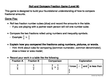 Roll and Compare Fraction Game (Level M)