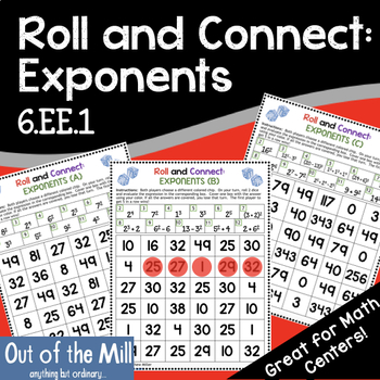 Exponents Math Game: Roll and Connect (6.EE.1)