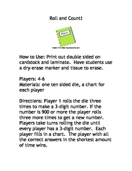 Roll and Count! Math Game