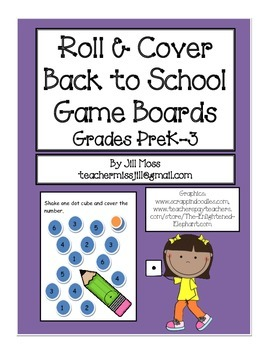 Roll and Cover Back To School Gameboards