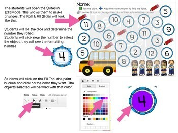 Roll and Color, Numbers, Counting, Addition, Google, Digital, Math Stations