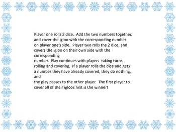 Roll and Cover Game - Winter theme