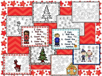 Roll and Cover Games for December and January- Kindergarten Christmas and Winter