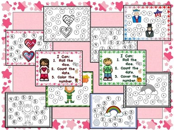 Roll and Cover Games for February and March- Kindergarten Valentines, Presidents