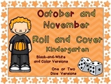 Roll and Cover Games for October & November Kindergarten Halloween, Thanksgiving