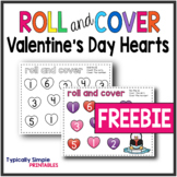 Roll and Cover Math Game: Valentine's Day Hearts