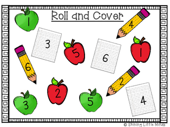 Roll and Cover Numbers 1-6 Back to School Edition