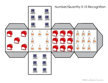Number Identification 1-10: School Themed Roll and Cover (English and Spanish)
