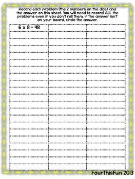 Roll and Cover Recording Sheet