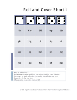 Roll and Cover Short Vowels - Orton Gillingham Supplemental Game