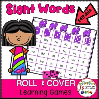 Sight Word Games – Colorful Dinosaurs Roll & Cover {EDITABLE}