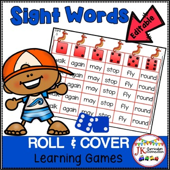 Sight Word Games – Ocean Friends! Roll and Cover  {EDITABLE}