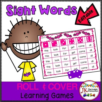Sight Word Roll & Cover Games – Bat Theme {EDITABLE}