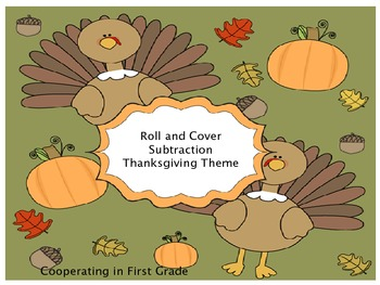 Roll and Cover Subtraction - Thanksgiving Theme