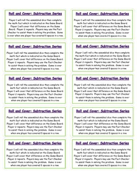 Roll and Cover: Subtraction (set of 4)