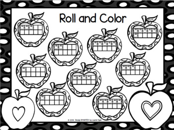 Roll and Cover Ten Frames:  NO PREP Apple Edition