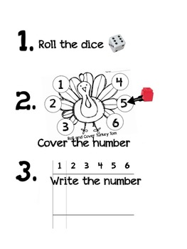 Roll and Cover Turkey Numbers 1-6