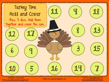 Roll and Cover Turkey Time 3 digit addition