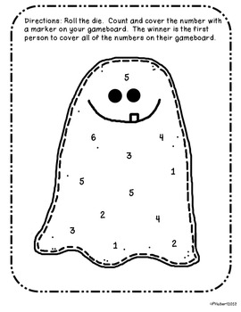 Roll and Cover - Using dice and addition! Ghost edition