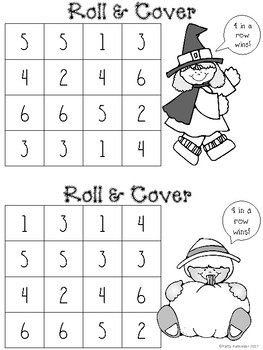Roll and Cover for Kindergarten Halloween Black and White Set - Recognizing 1-6