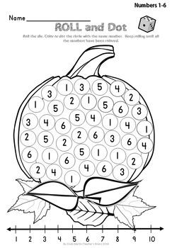 Number Sense Activities for Kindergarten - Roll and Dot