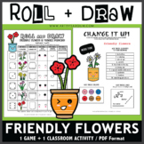 Roll and Draw Game - Friendly Flowers Kawaii Inspiration (