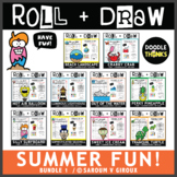 Roll and Draw Game - Summer Fun Drawing Activities Bundle