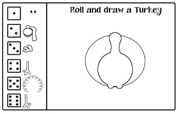 Roll and Draw Turkey, Leaf person, Carrot person, and Pumpkin person