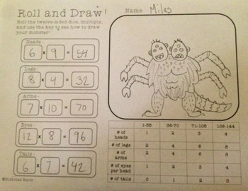 Roll and Draw a Monster - Practice addition and multiplication facts