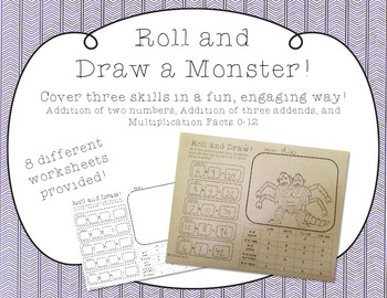 Roll and Draw a Monster - Practice addition and multiplica