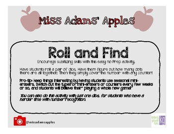 Roll and Find Subitizing Game