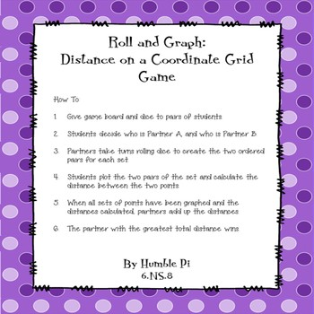 Roll and Graph: Distance on a Coordinate Plane Game- 6.NS.8