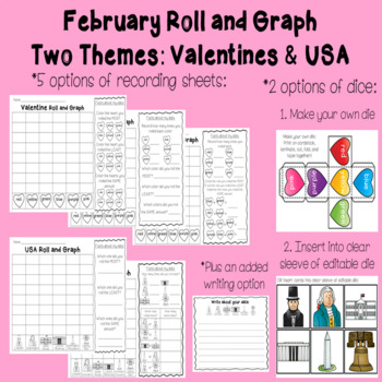 Roll and Graph February: Valentine and President's Day