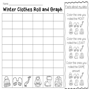 Roll and Graph January: Winter Sports and Clothes Themes