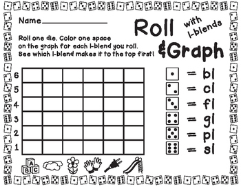Roll and Graph L-Blends No-Prep Printable FREEBIE